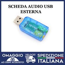 Scheda Audio ESTERNA  3D 5.1 USB Per Notebook E PC FISSO Plug & Play Nero 🇮🇹