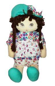 "Vintage 1992 Commonwealth cloth rag doll brown yarn hair 27"""