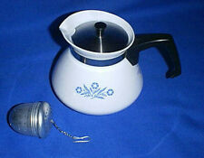 Corning Ware Stove Top 6-Cup Teapot P-104 & Tea Ball Infuser - Blue Cornflower