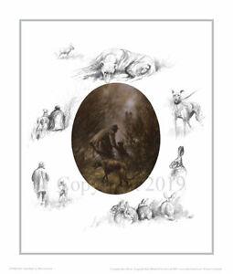 Mick Cawston 'After Dark'. Lurcher Poaching, fine art print