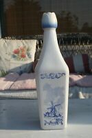 Vintage White Milk Glass Blue Windmill Holland Liquor Bottle Decanter Tulip Cap