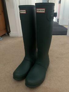 Ladies Original Tall Hunter Wellies Wellington Boots Green Size UK 7 Brand New
