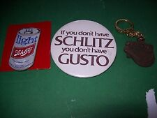 Lot of 2 Schlitz Beer Pins and Keychain NOS