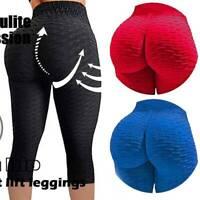 US Women Yoga Capri Pants Anti Cellulite Push Up Sports Leggings Gym Workout P56