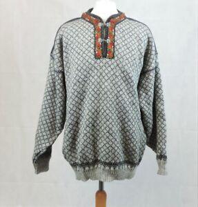 Volund Lokken Norway New Wool Pullover Sweater Clasp Size XXL CR017 AA 01
