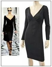 VALENTINO Long Sleeve Black Wool Crepe Dress US 2 4 NEW WITH TAGS