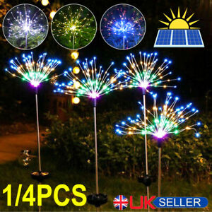 4X 150LED Garden Path Lights Solar Power Firework Lamp Starburst Stake Outdoor