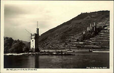 Bingen Rheinland-Pfalz ~1930/40 Turm Ruine Ehrenfels Burg Fluß Rhein Mäuseturm