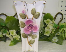 VASE WITH APPLIED PINK ROSE AND GREEN LEAVES SONSCO JAPAN