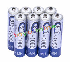8x AAA 1000mAh 1.2V Ni-MH Rechargeable battery 3A BTY Cell for MP3 RC Toys