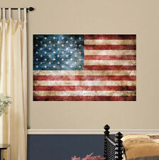 """VINTAGE AMERICAN FLAG wall sticker GIANT MURAL decal patriotic stars stripes 40"""""""