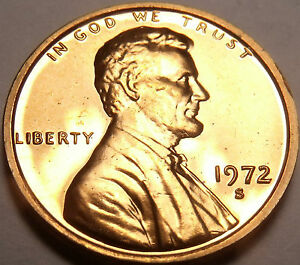 BLAZING RED PROOF 1972-S LINCOLN CENT