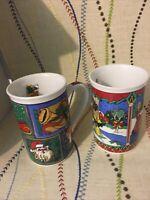 Cristmas Mugs, Set Of 2 Coffee Tea Nicely Decorate Outside And Inside.
