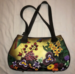 SIMILAR TO ANUSCHKA SATCHEL PURSE/HANDBAG FLORAL BUTTERFLY HAND-PAINTED LEATHER