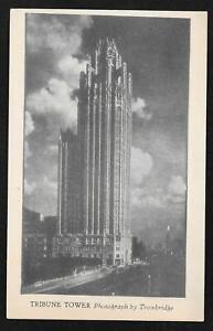 Vintage Tribune Tower Trowbridge Municipal Art League Series of Chicago Postcard