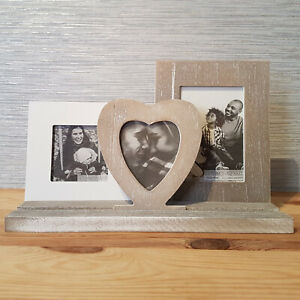 Wooden Heart Triple Photo Frame Shabby Chic Picture Holder New Rustic Home Decor