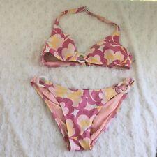 Espirt Vtg Pastel Floral 80' 90's Two Piece Womans Swimsuit Bathing Suit