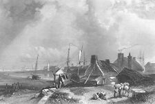 Northumberland BLYTH HIGH LIGHTHOUSE PORT HARBOR BOAT ~ 1840 Art Print Engraving