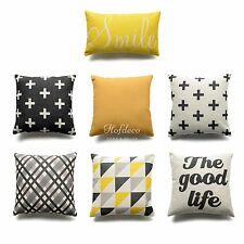 Hofdeco Decorative Throw Pillow Case Yellow Geometric THICK FABRIC Cushion Cover