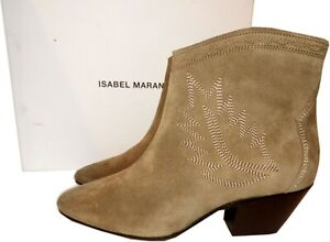 Isabel Marant Boots Dacken Booties Embroidered Suede Ankle Taupe Sz 37 Zipper