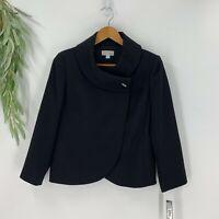 Tahari Aruth S Levine Womens Suit Jacket Blazer Size 6 Black Cowl Neck Stretch