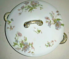 "Vintage Haviland & Co 9"" Covered Vegetable Dish Schleiger # 79 Purple & Blue"