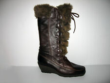 Spring Step Brown Leather Mid Calf Boots, Made in ITALY EU 37/US 6.5 - 7 Womens