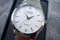 New Mens Bulova Caravelle White Diamond Pinstripe Stainless Steel Bracelet Watch