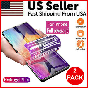 2PCS Hydrogel Screen Protector For iPhone 13 12/11/8/7/+/X/XS/XS Max/XR Pro Max