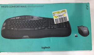 Logitech - MK570 Comfort Wave Wireless Keyboard and Optical Mouse - Black