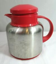 Stainless Steel Thermal Carafe Insulated Red Cover 4 Cups Coffee Server