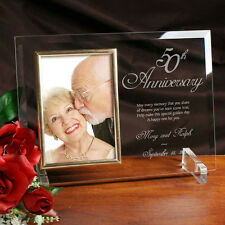 Personalized Glass 50th Gold Anniversary Picture Frame Engraved Photo Frame