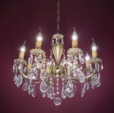 GOLD BRONZE CRYSTAL GLASS CHANDELIER VINTAGE CEILING LAMP 8 LIGHT Bedroom