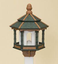 Bird Feeder ~ Amish Handmade Recycled Poly Hexagon ~ Green Cedar & White 5Lb Usa