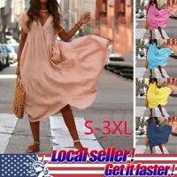 2019 Summer Women's Loose Casual V Neck Short Sleeve Beach Maxi Dress Sundress Y