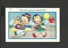 Vintage Comic Postcard ii got a hand full by Trow unposted