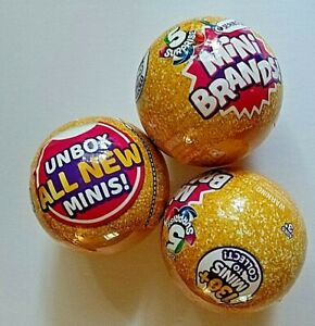 LOT OF 3 MINI BRANDS SERIES 2 -  GOLD BALLS WITH 5 SURPRISES NEW