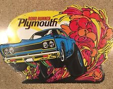 Dodge Plymouth Road Runner Mopar Yellow Orange Blue Metal Sign Vintage  Garage