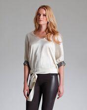 Hale Bob Beaded Silk Blouse | Short Sleeve | Taupe Ivory XS S NWT 2ATB2988 *