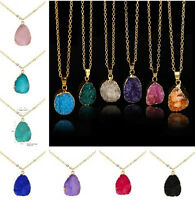 Imitated Rock Quartz Crystal Gems Pendant Chain Necklace Clusters Geode Stone