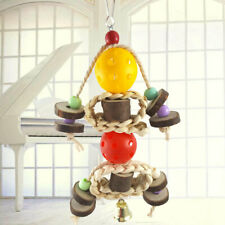 New listing Ke_ Log Wood Hanging Colorful Ball Beads Bird Pet Parrot Chew Toy with Bell Us