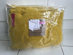 JOULES THROW MOSS STITCH 100% Cotton Knitted 140cm x 200 Yellow/Gold/Mustard