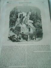 Pratolino en Toscane  Gravure Old Print 1842