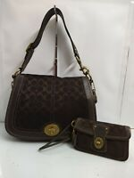 Coach Legacy Chocolate Brown Signature Canvas Leather Trim Shoulder Bag Wristlet