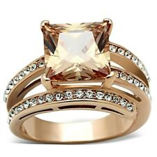 HCJ ROSE GOLD TONE STAINLESS STEEL PRINCESS CUT CHAMPAGNE CZ RING SIZE 8