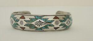 Vintage Native American Navajo NAKAI Silver Bracelet ~ Inlaid Turquoise & Coral
