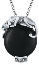 BLACK ONYX STERLING SILVER PANTHER PENDANT ON CHAIN FROM ARI D NORMAN