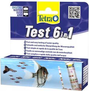 Tetra Test Strips 6 In 1 Aquarium Fish Tank Water pH KH GH NO2 NO3 Cl 25 X Pack