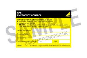 Gas Safe Emergency Control Self-adhesive Labels (GSR14)
