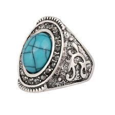 Silver Turquoise Blue Stones Unisex Men Women Large size Q 18 mm Ring FR277